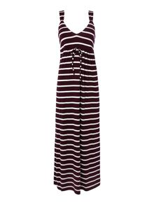 Stripe jersey maxi beach dress with straps