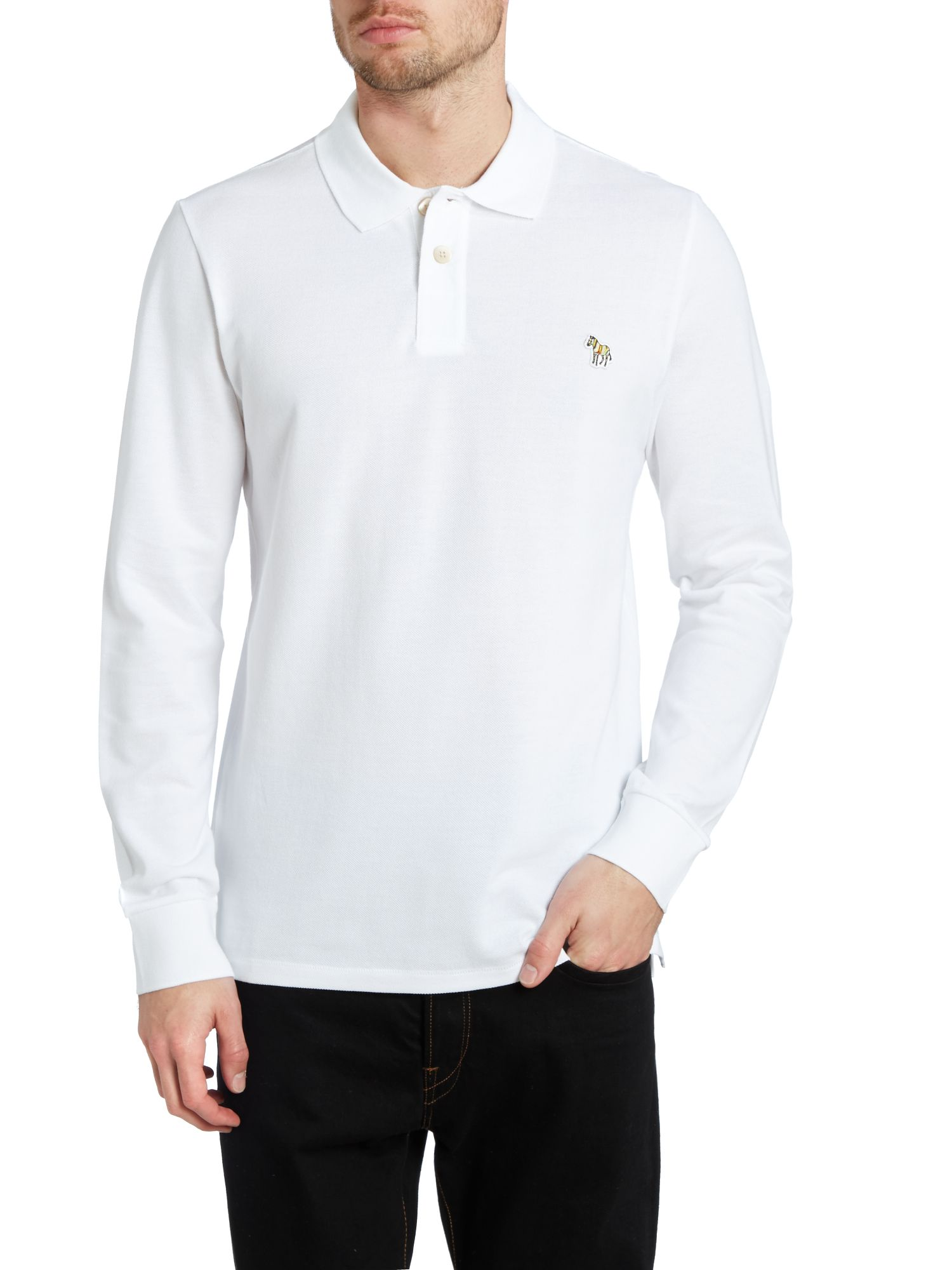 Long sleeve zebra logo polo shirt
