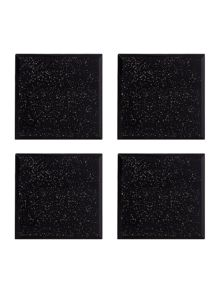Sparkle blck glass Coaster S/4