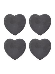 Linea Slate heart coasters set of 4