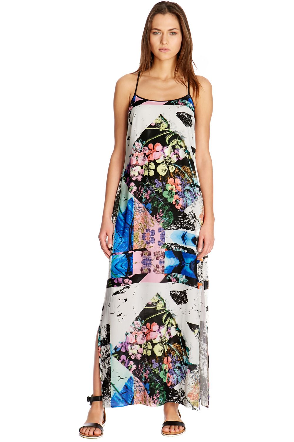 Collage floral maxi dress