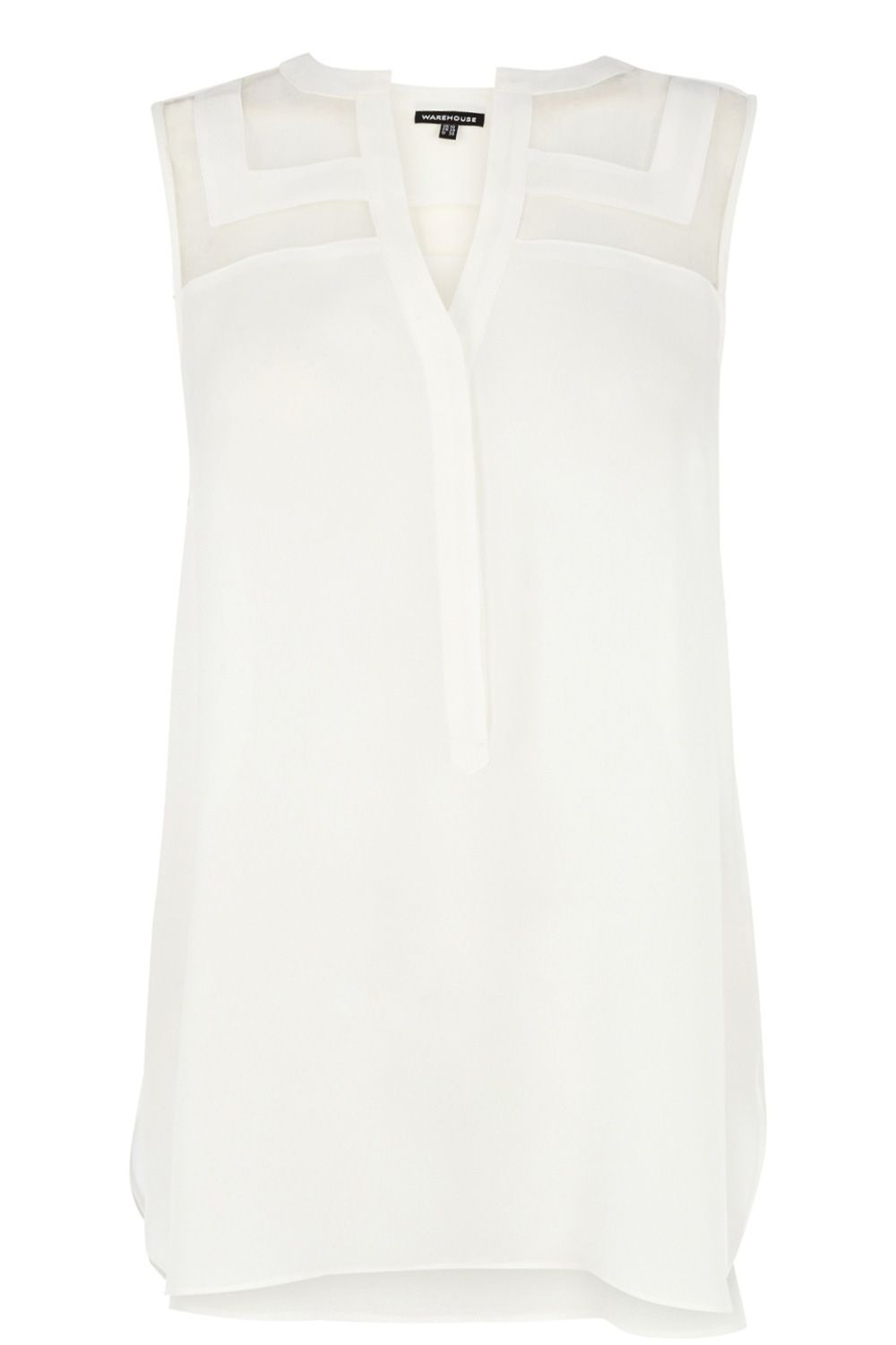 Organza insert sleeveless blouse