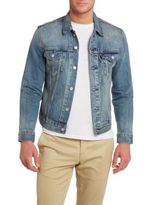 Denim structured trucker jacket