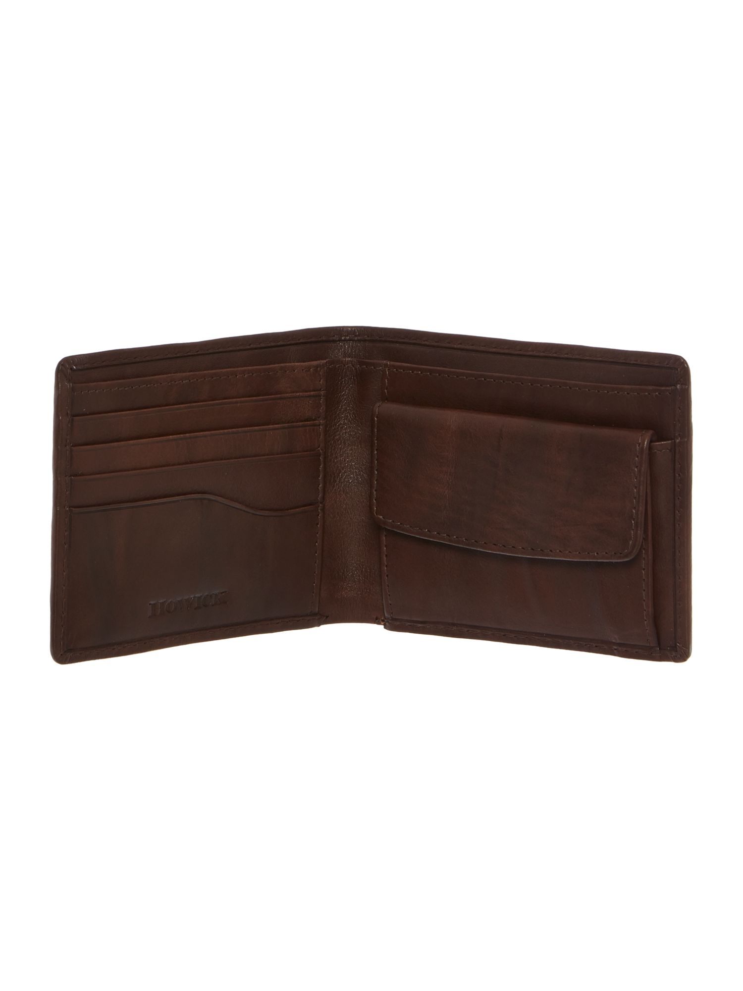 Contrast bifold wallet with coin pocket