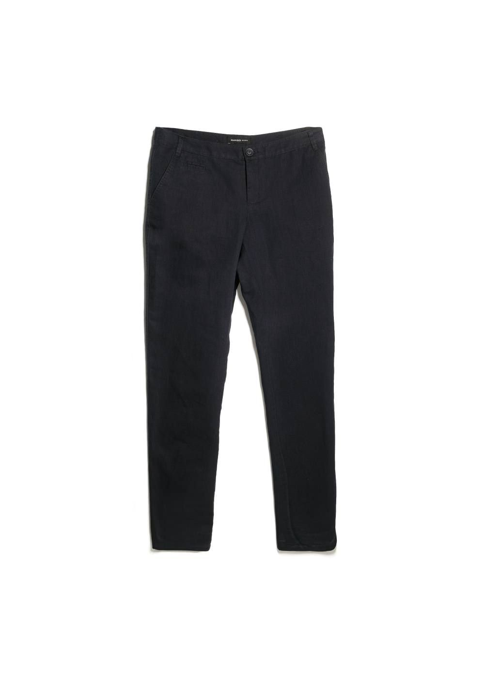 Linen-blend chino trousers