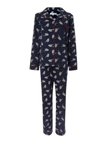 Cross stitch bird print brushed pj set