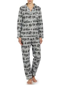 Log cabin print brushed pj set