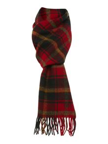 Red and green check lambswool scarf
