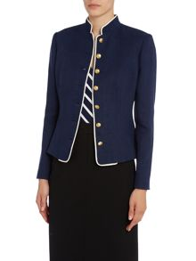 Shata linen jacket with stand up collar