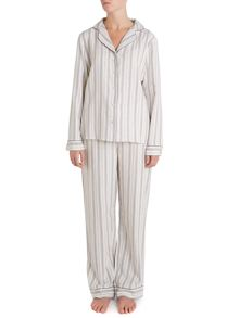 Yarn dye stripe brushed pj set