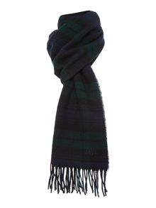 Navy and green tartan lambswool scarf