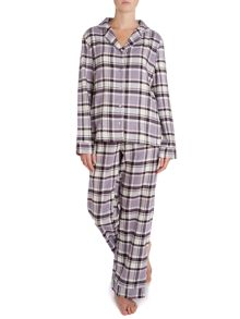 Heather check brushed pj set