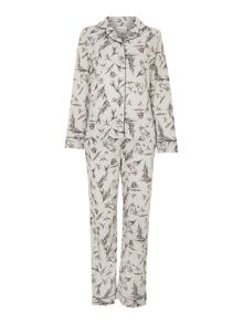 Hand drawn floral brushed pj set