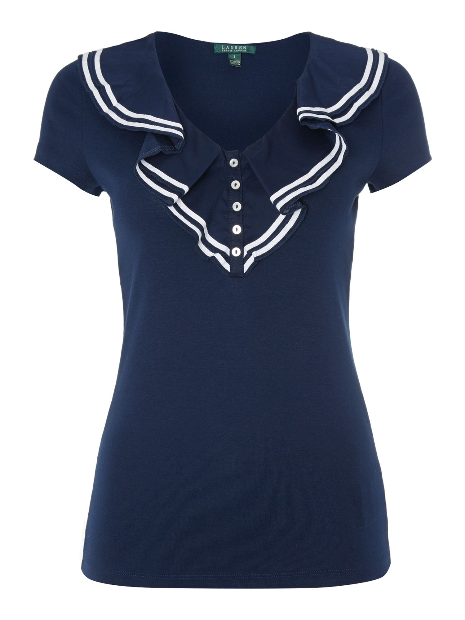 Sailor top with ruffle front