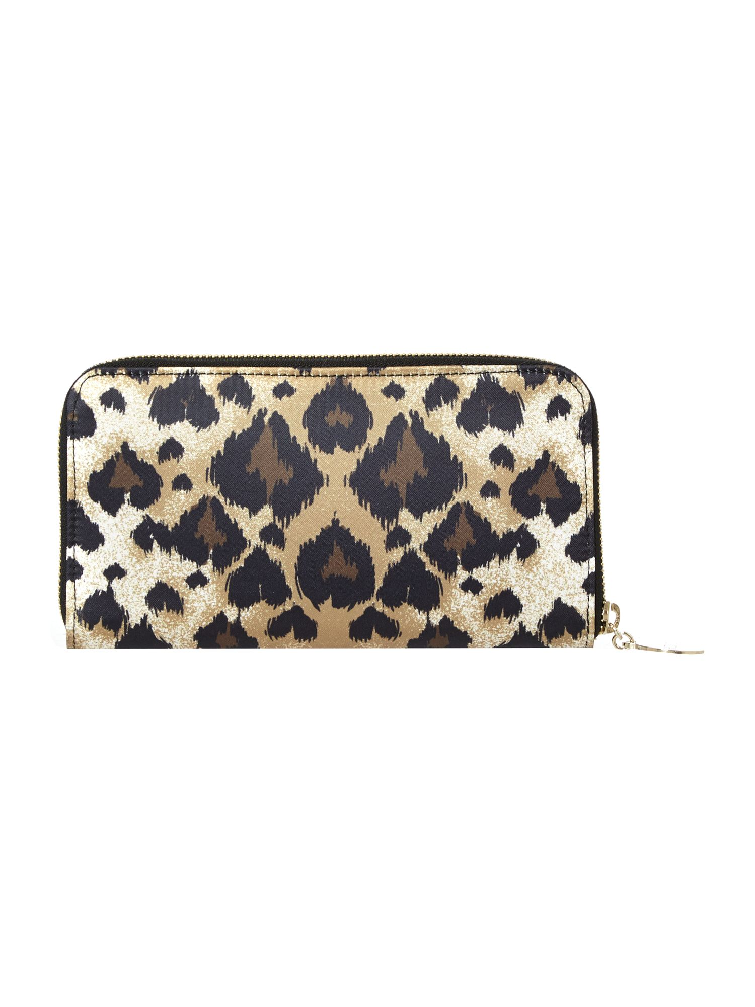 Multi coloured leopard zip around purse