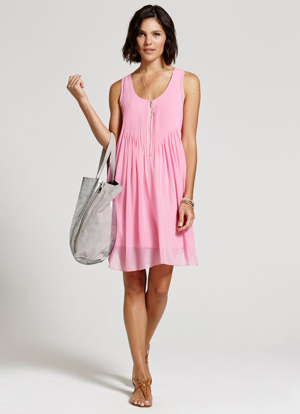 Candy zip pintuck dress
