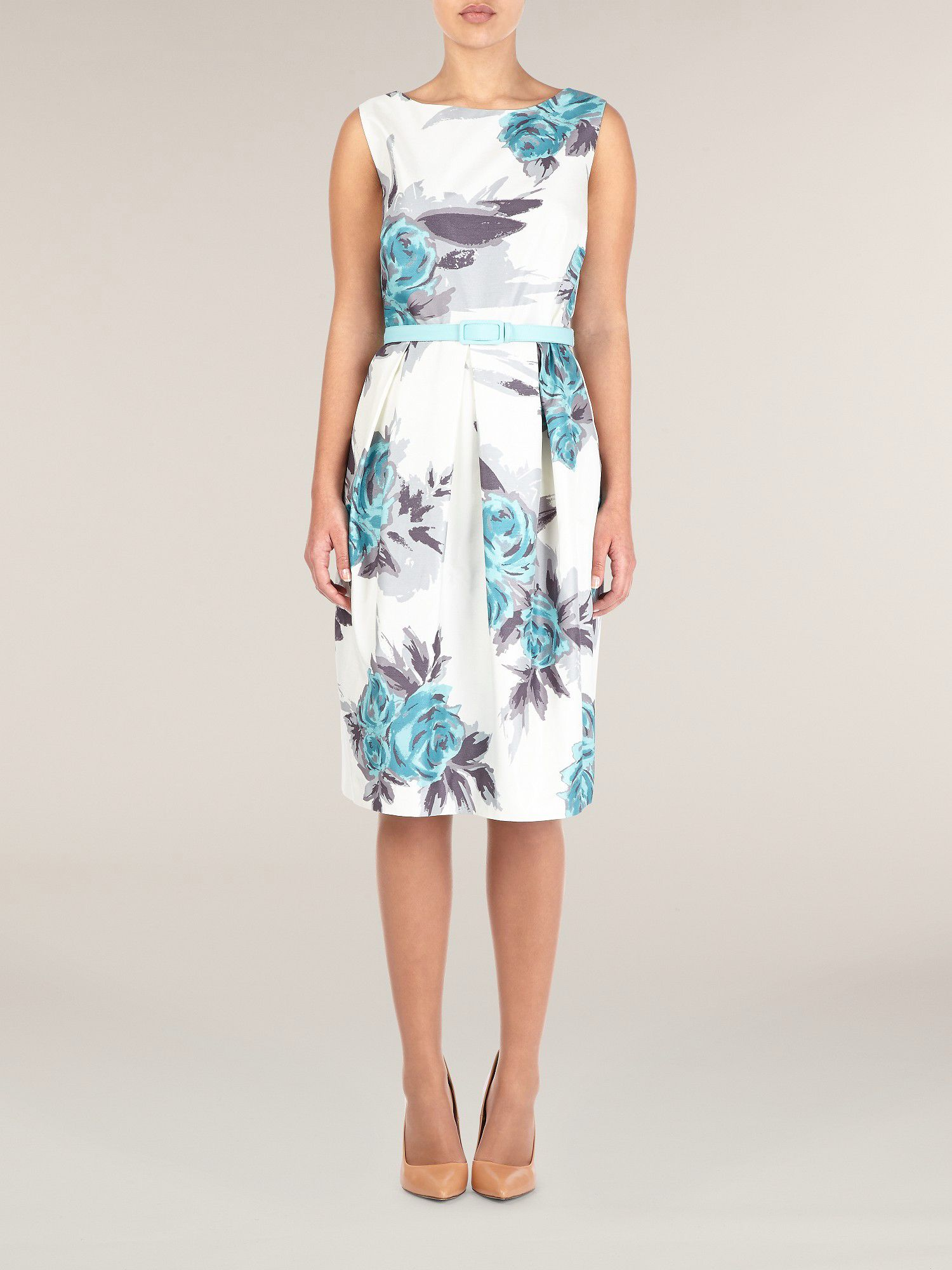 Aqua floral print shift dress