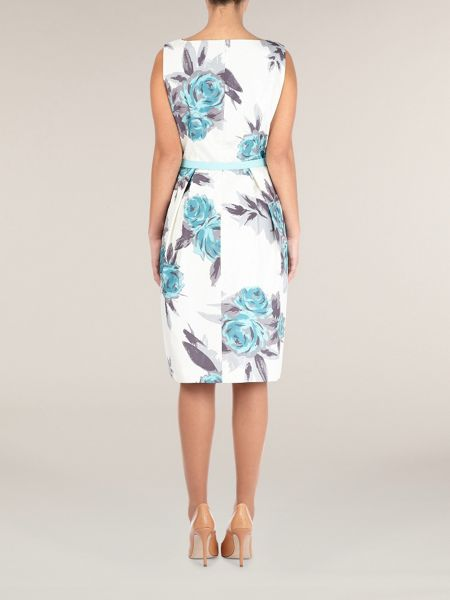Precis Petite Aqua floral print shift dress