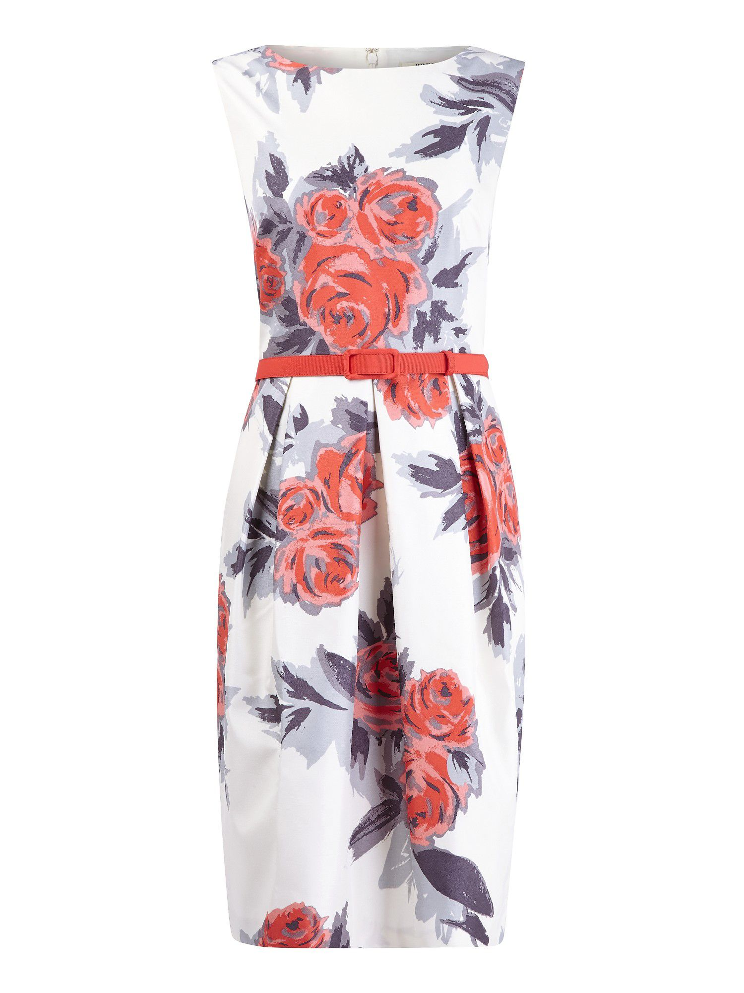 Coral floral print shift dress