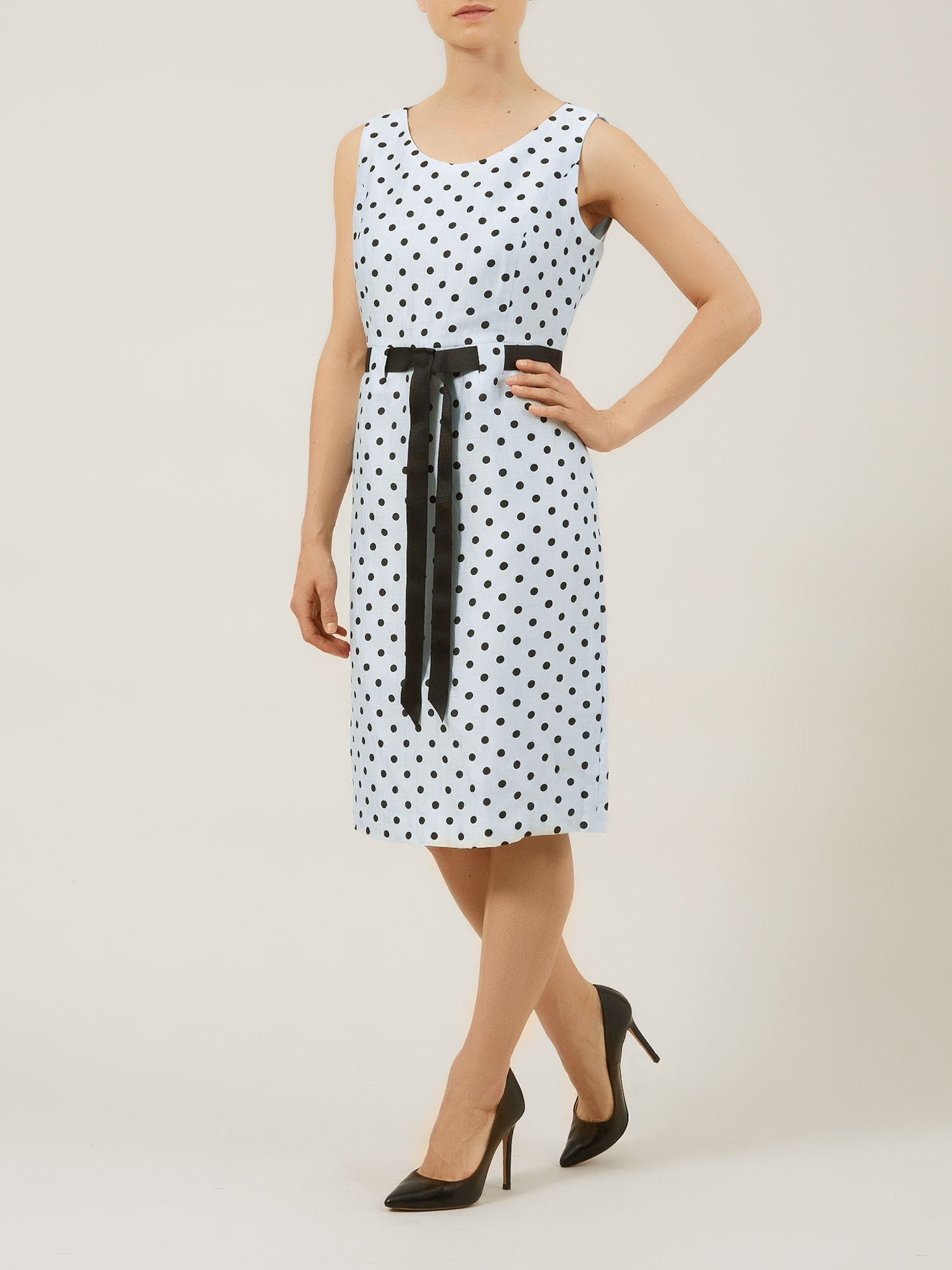 Powder blue spot crinkle dress