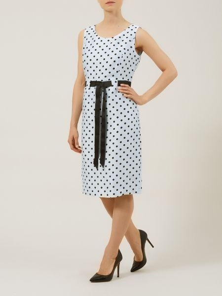 Precis Petite Powder blue spot crinkle dress