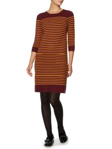 3/4 sleeve stripe knitted dress