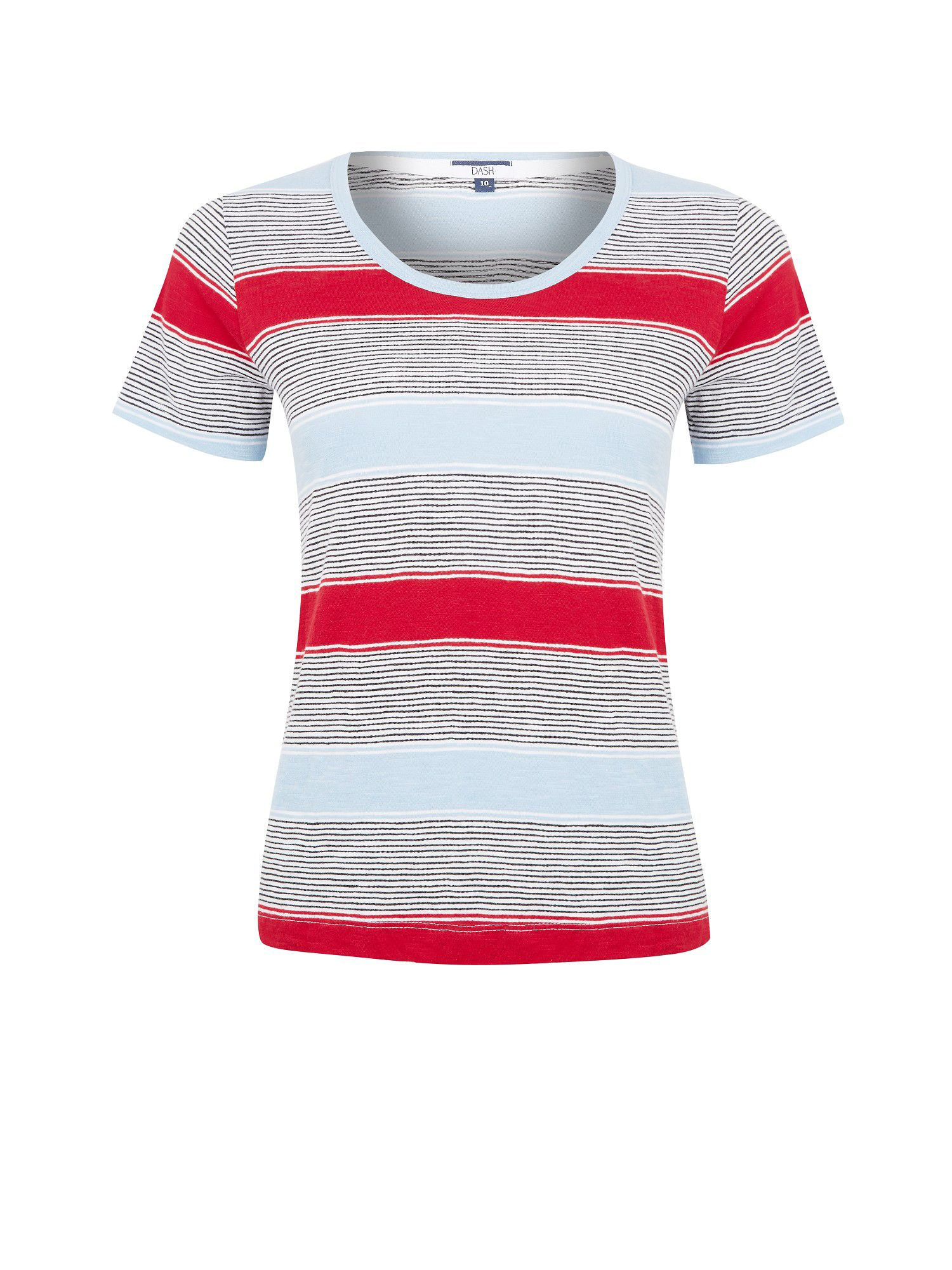 Multi stripe scoop tee