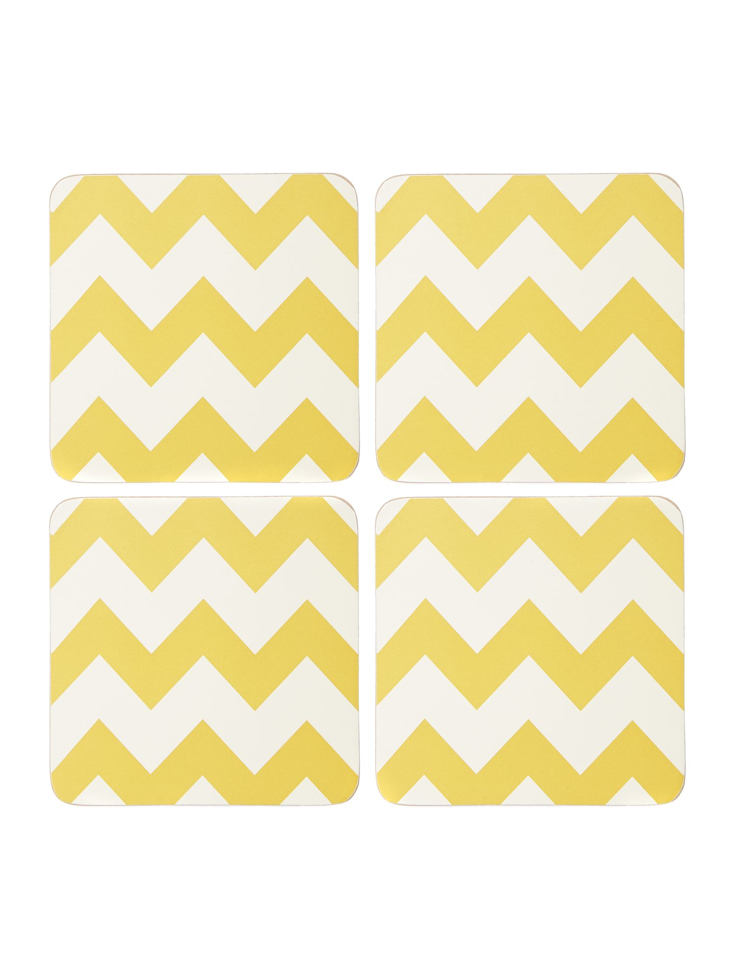 Chevron citrine coaster set of 4