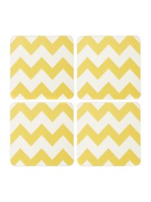 Living by Christiane Lemieux Chevron citrine coaster set of 4