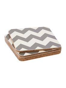 Living by Christiane Lemieux Chevron grey coaster set of 4