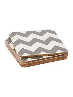 Living by Christiane Lemieux Chevron grey coaster set