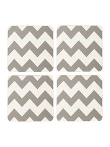 Chevron grey coaster set of 4