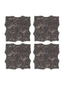 Pewter Geometric Beaded Coasters x4