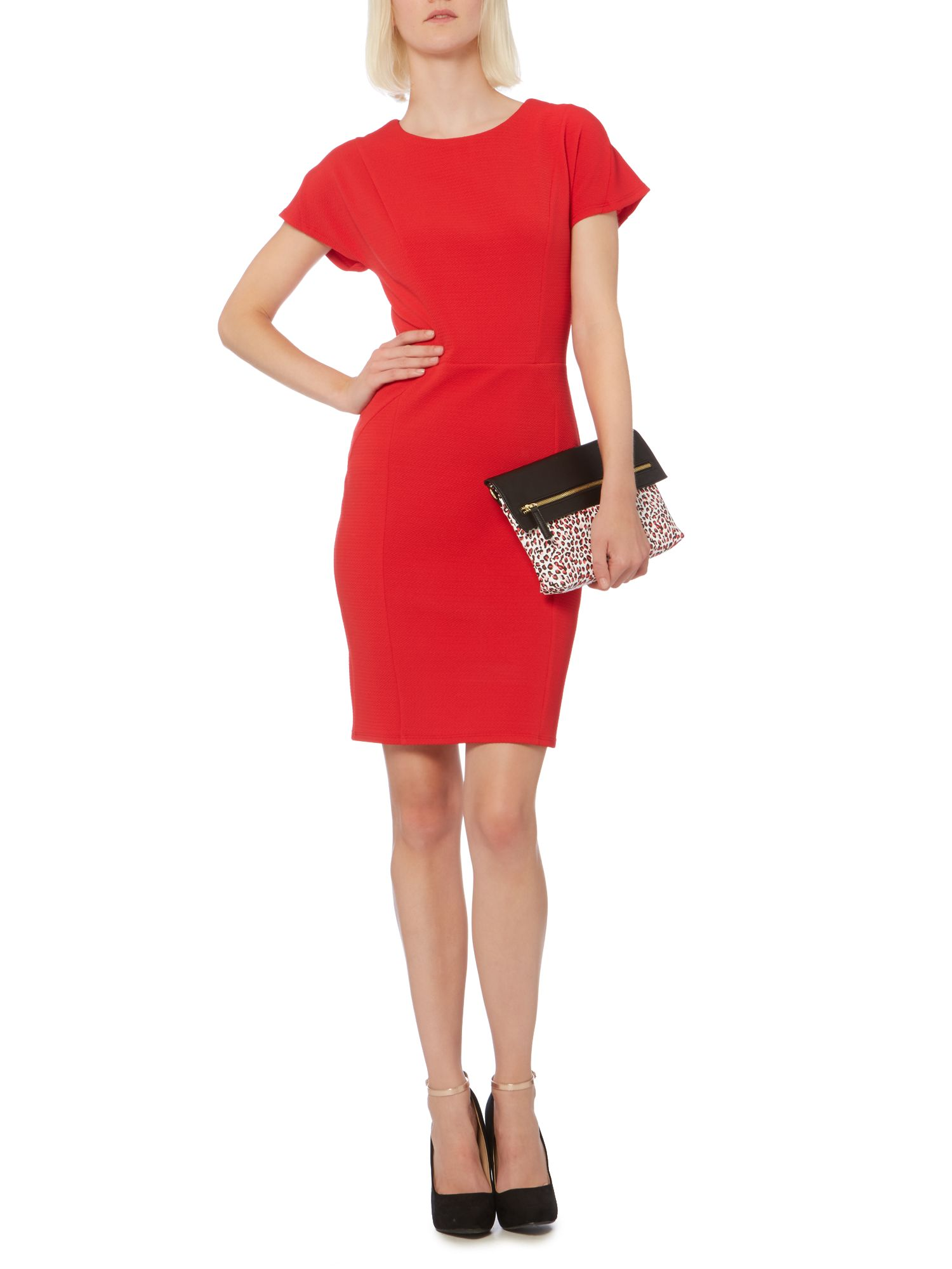 Drop sleeve panel textured dress