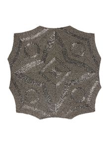 Pewter Geometric Beaded Placemats x2