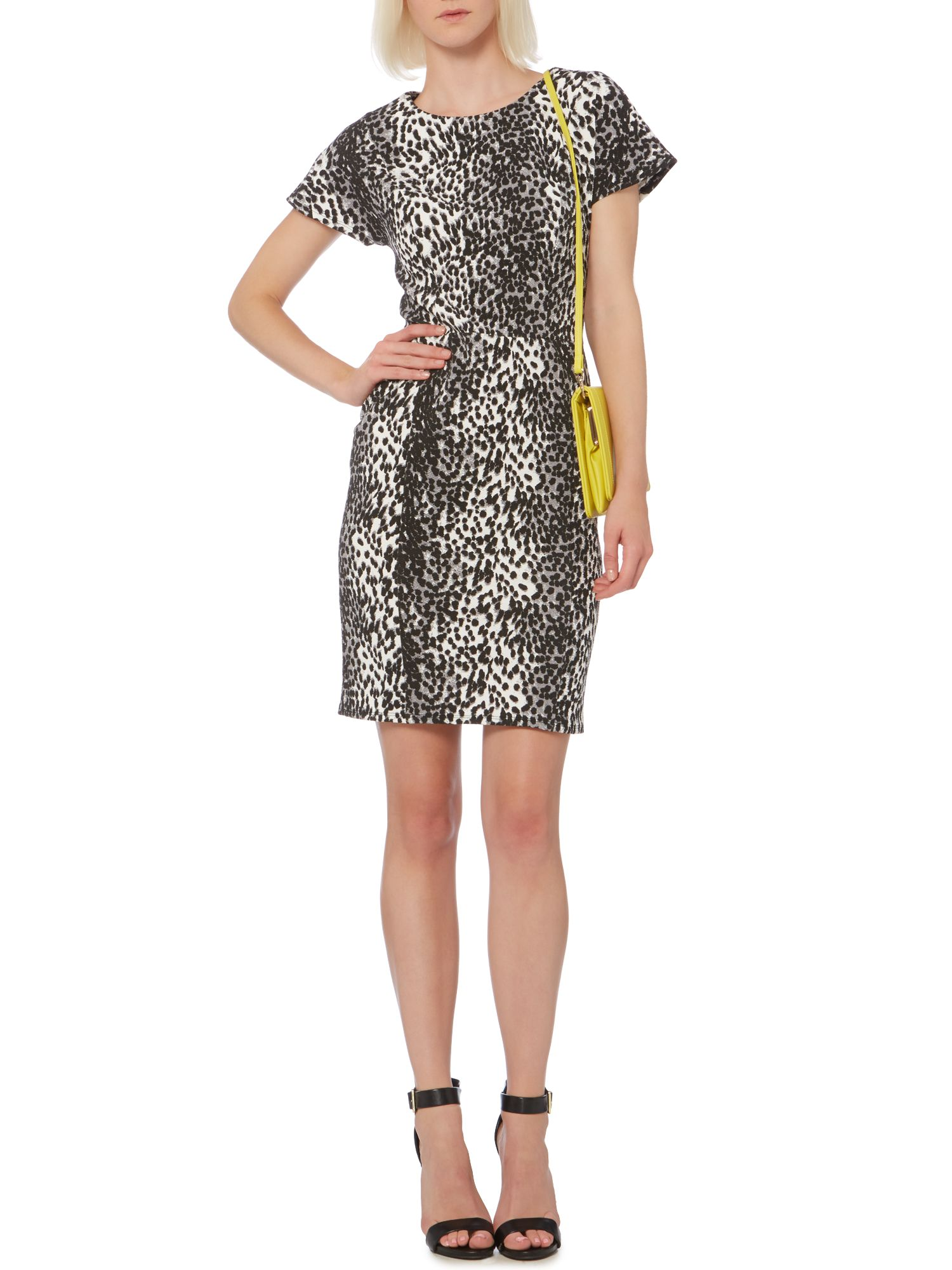 Animal print drop sleeve panel textured dress