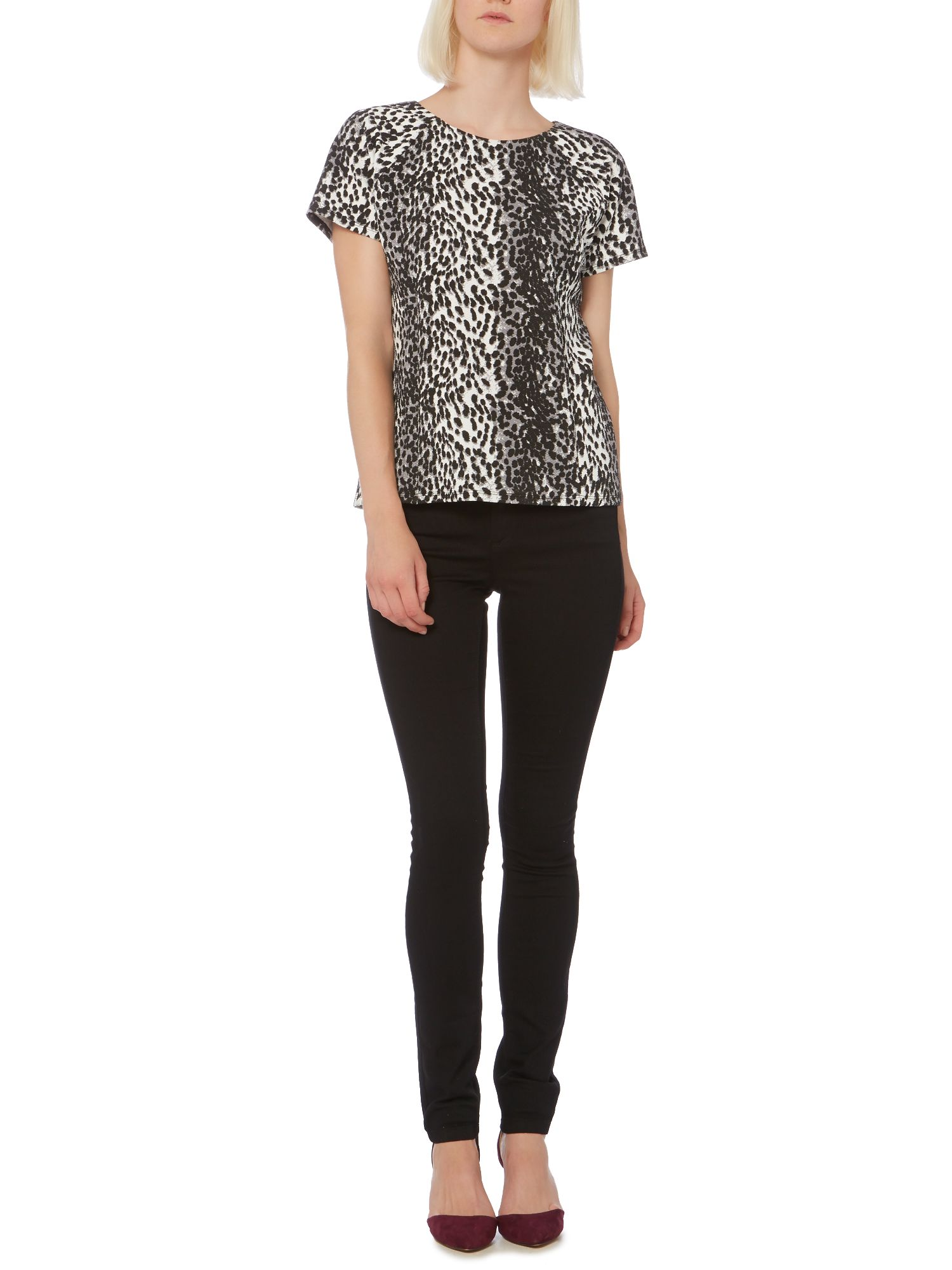 Animal print textured top