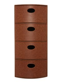 Tan faux leather storage unit