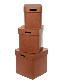 Set of 3 tan faux leather storage boxes