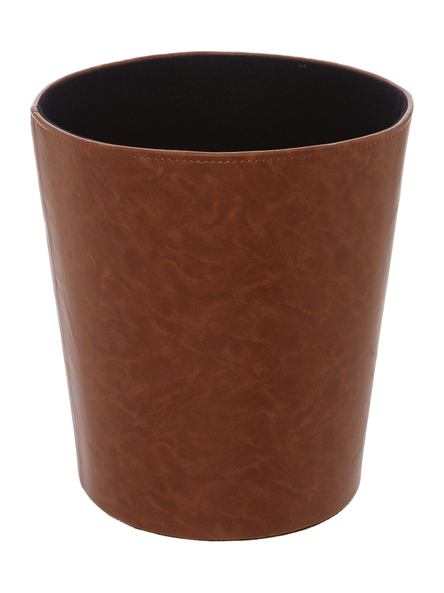 Tan faux leather waste bin