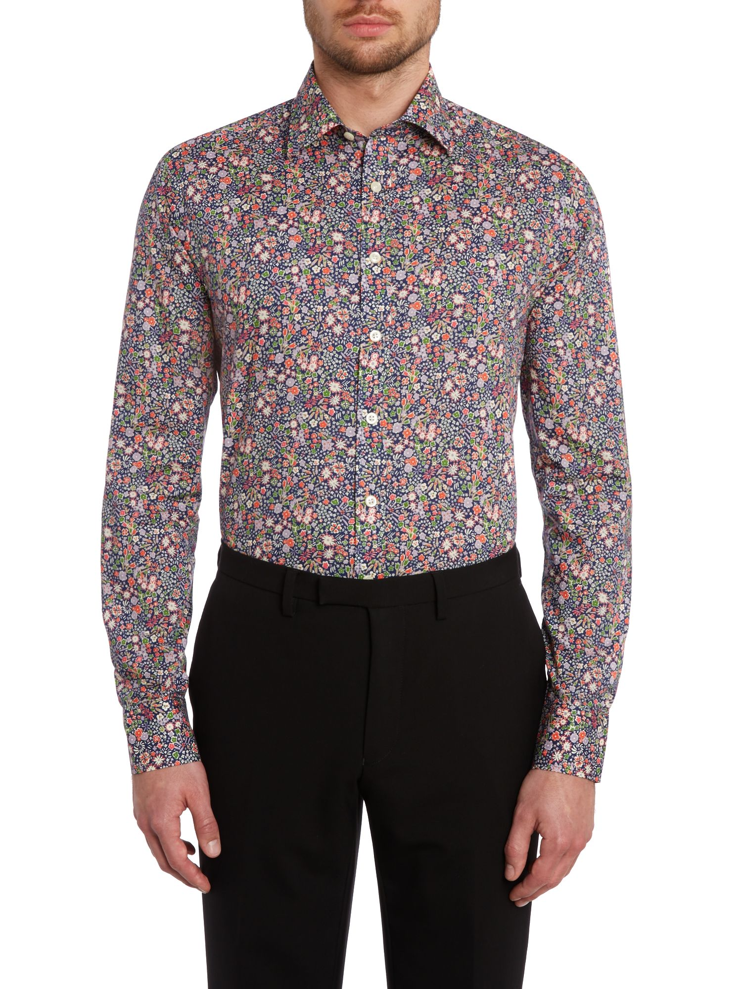 Multi floral slim fit shirt