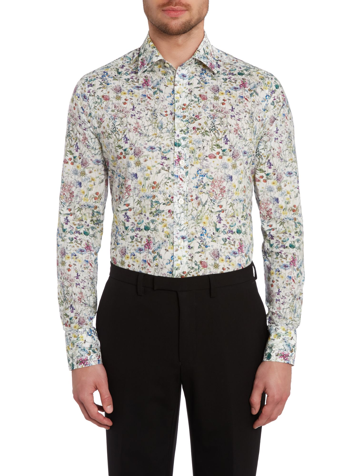 Vintage flowers slim fit shirt