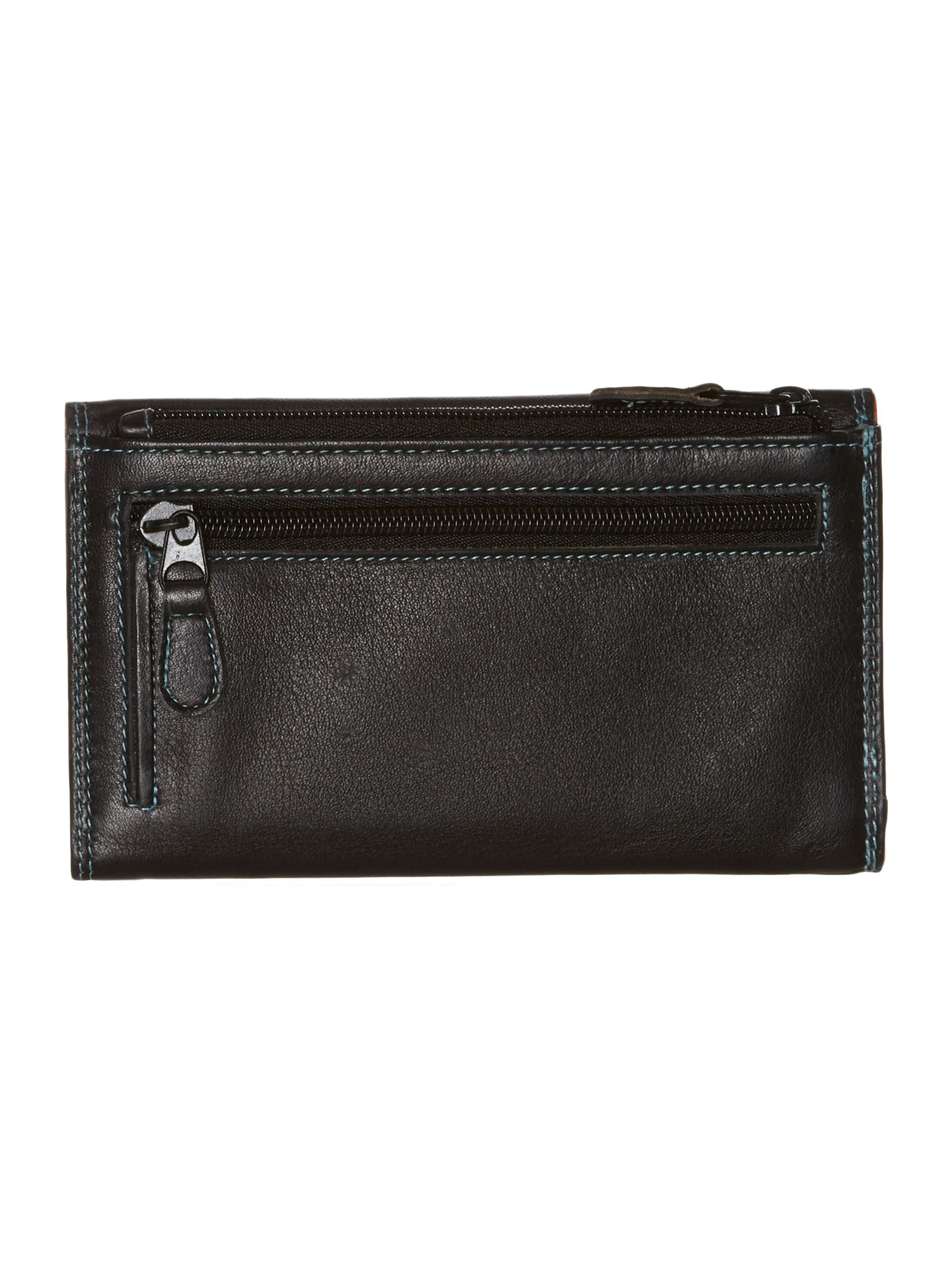 Black multi large card slot flapover purse