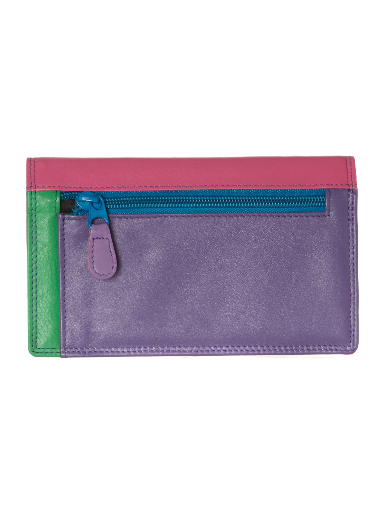 Multi coloured medium flapover purse