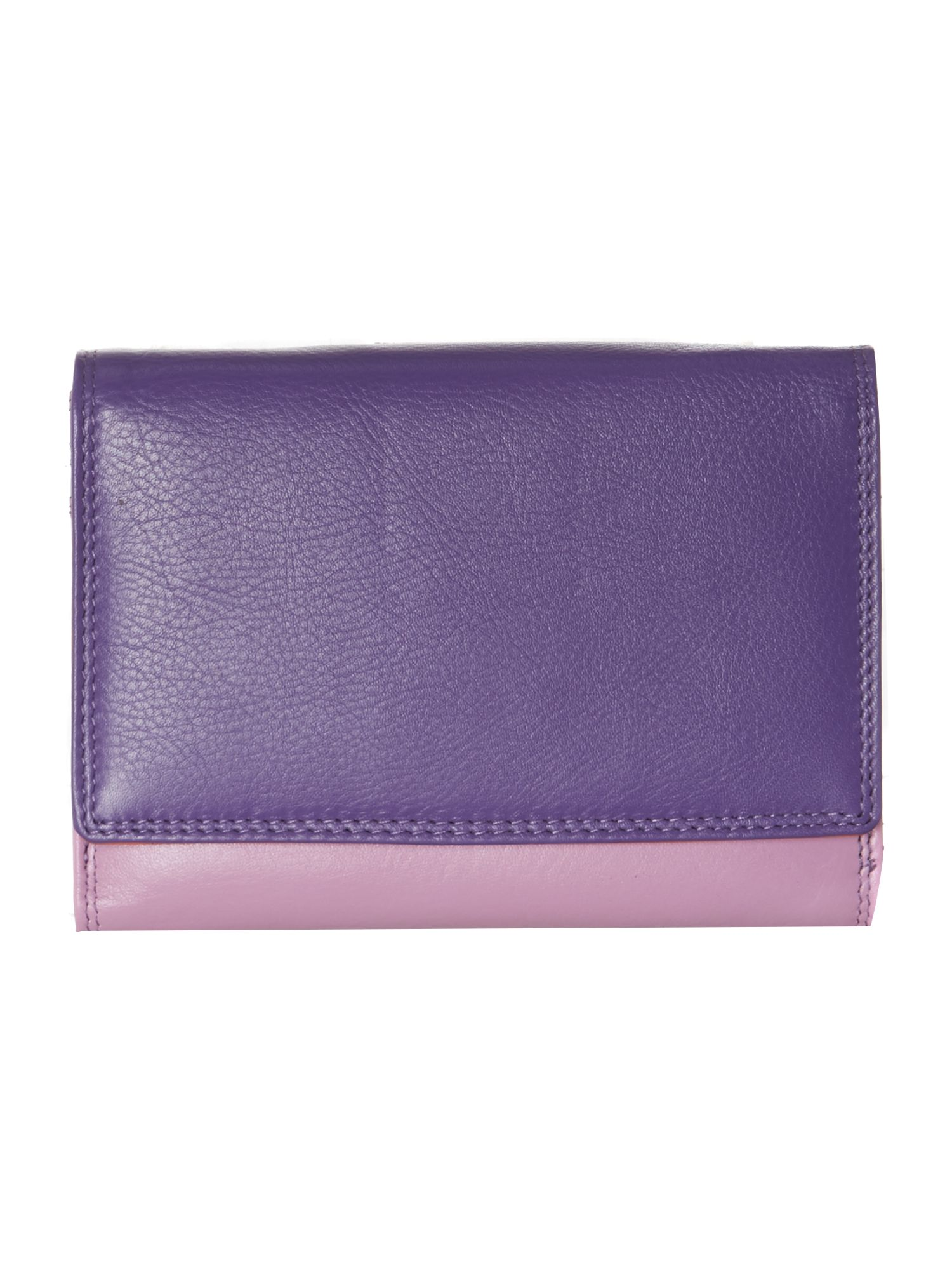 Multi coloured medium double flapover purse