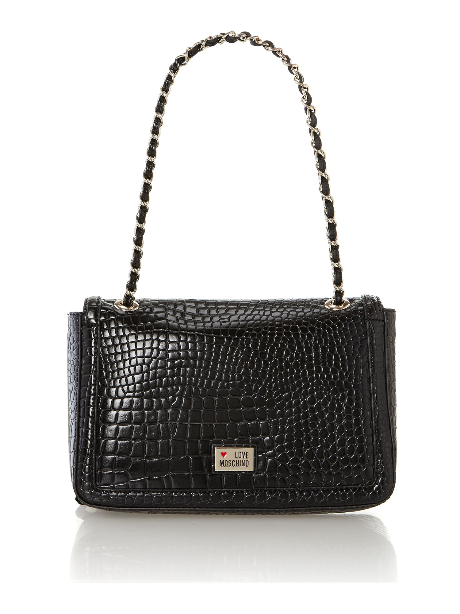 Black croc flapover shoulder bag