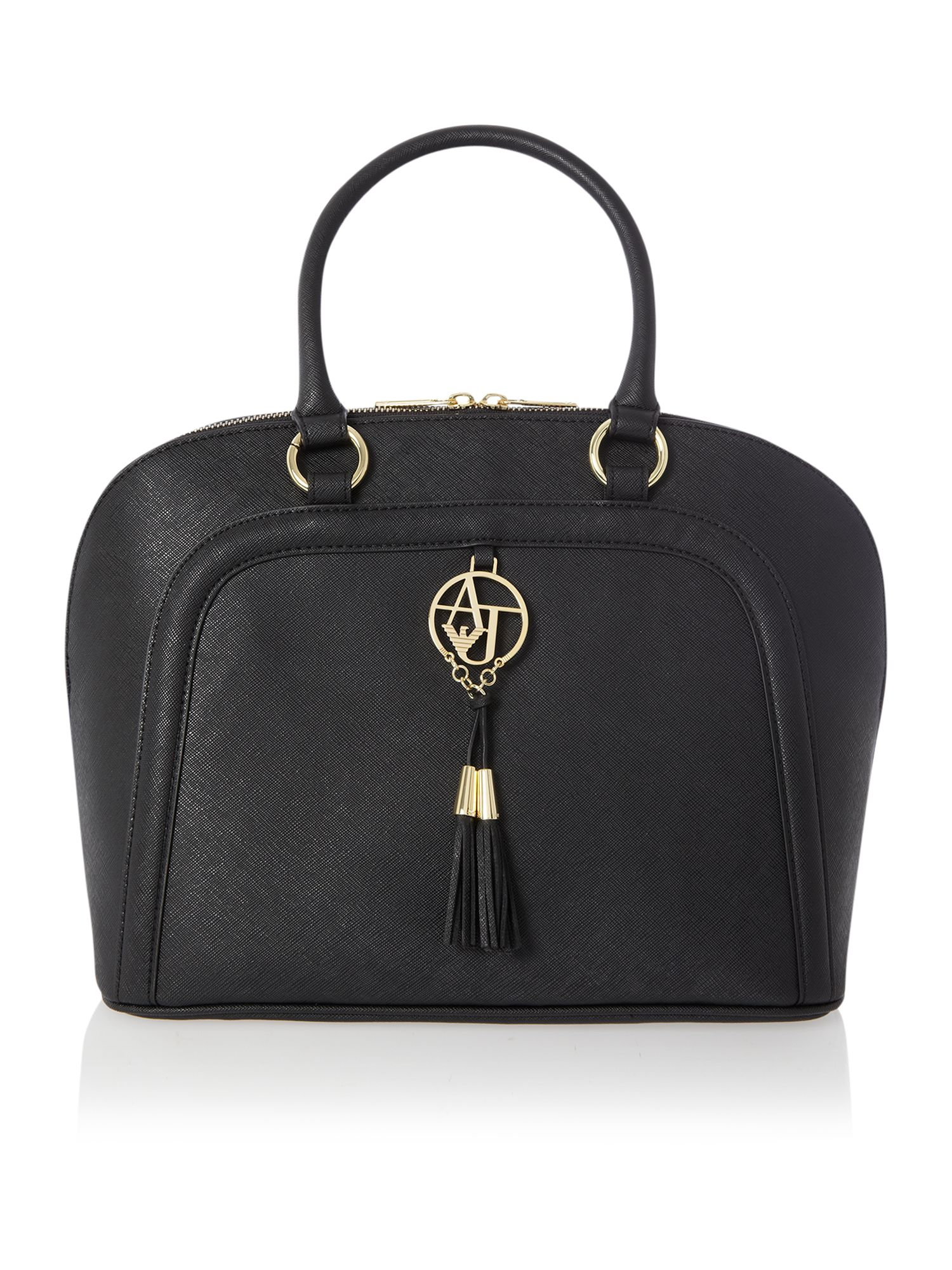 Black medium saffiano dome bag