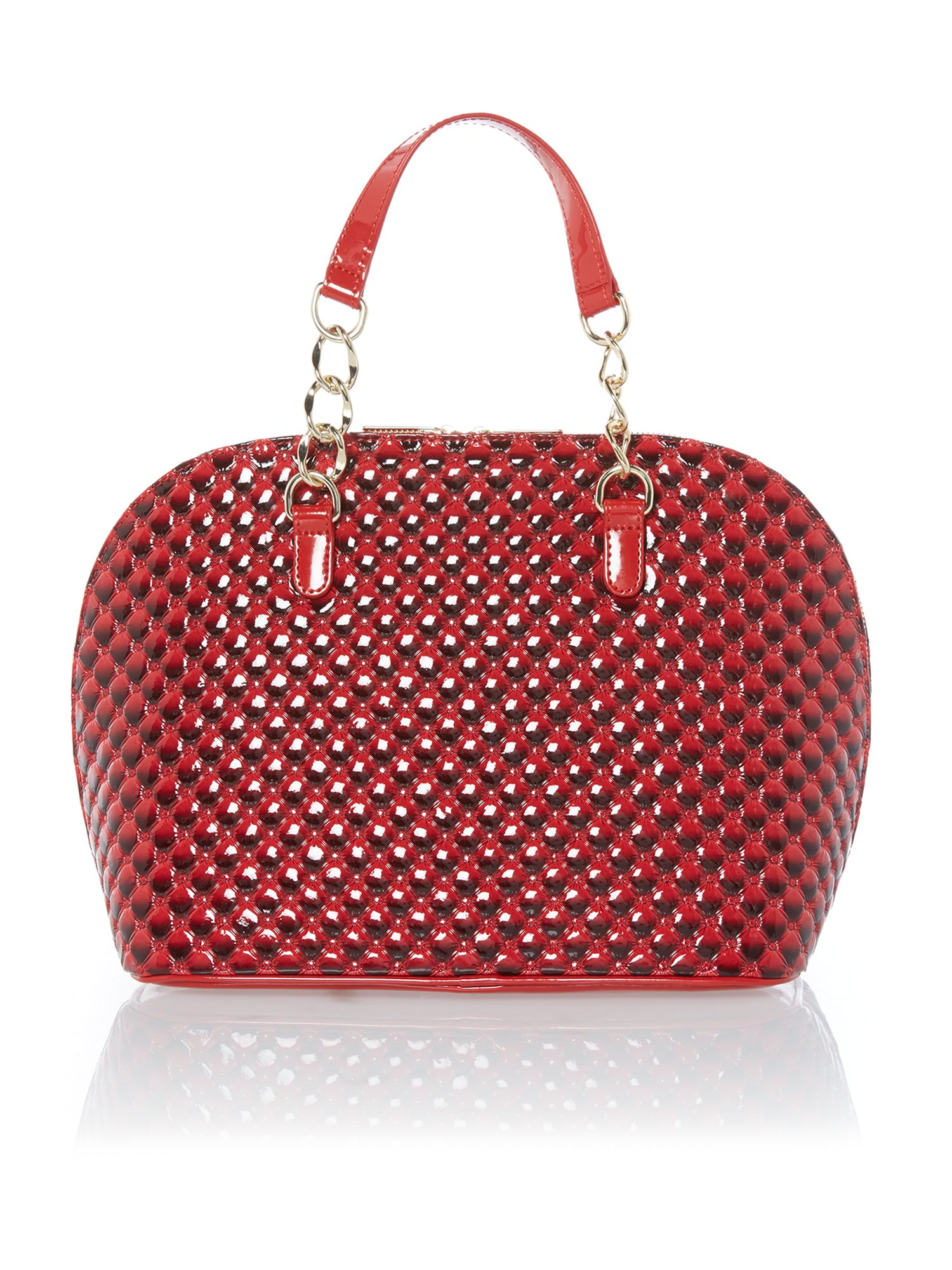Red diamond print dome bag