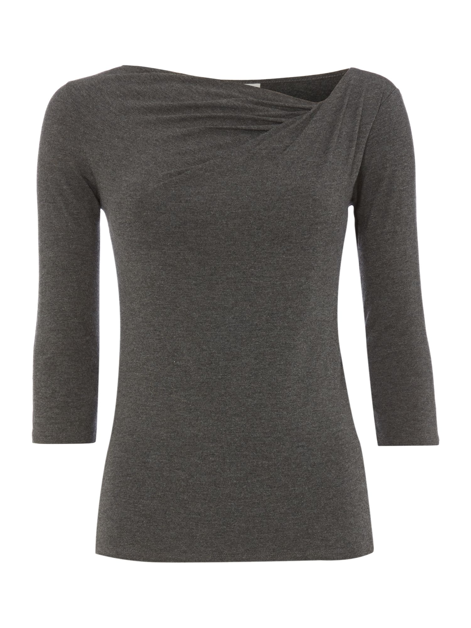 3/4 Sleeve twist cowl jersey top