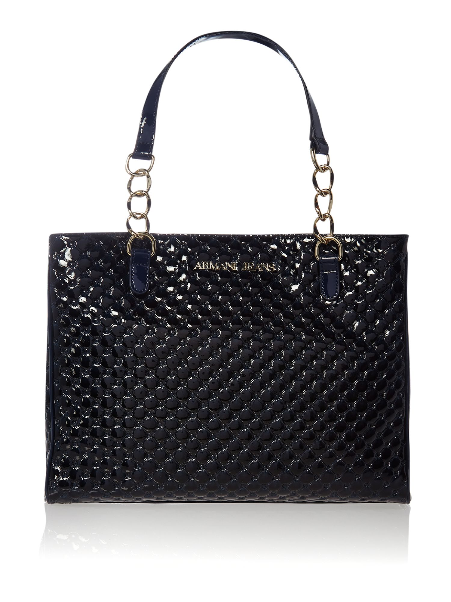 Navy diamond print medium tote bag